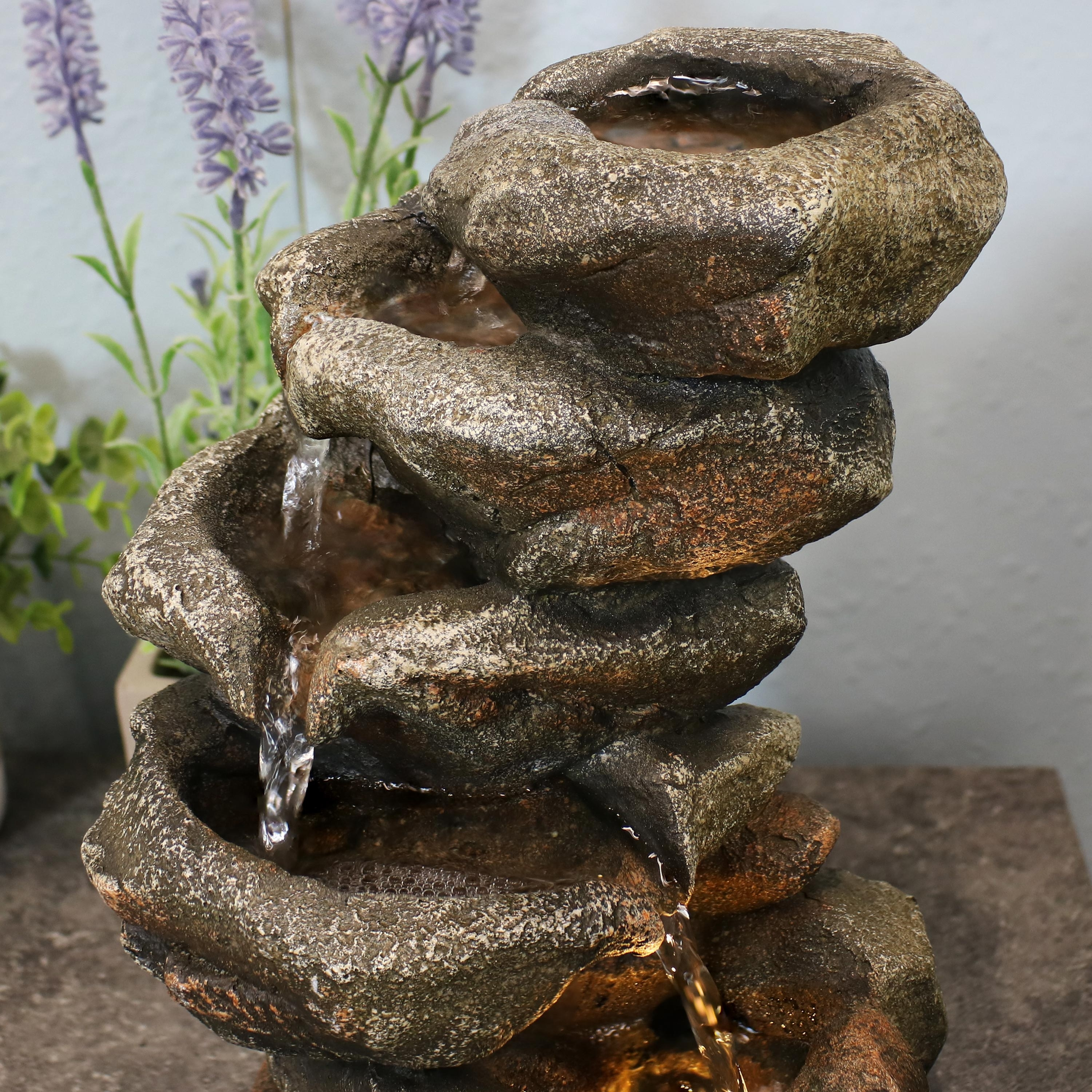 Shop Sunnydaze Rocky Falls Indoor Tabletop Water Fountain Feature With Led 10 Tall Overstock 25070766