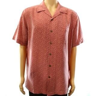 Tasso Elba NEW Red Mens Size Large L Button Down Silk Pocket Shirt