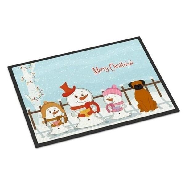 Carolines Treasures BB2446MAT Merry Christmas Carolers Fawn Boxer Indoor or Outdoor Mat 18 x 0.25 x 27 in.