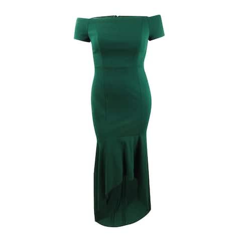 Calvin Klein Women's Off-The-Shoulder High-Low Gown