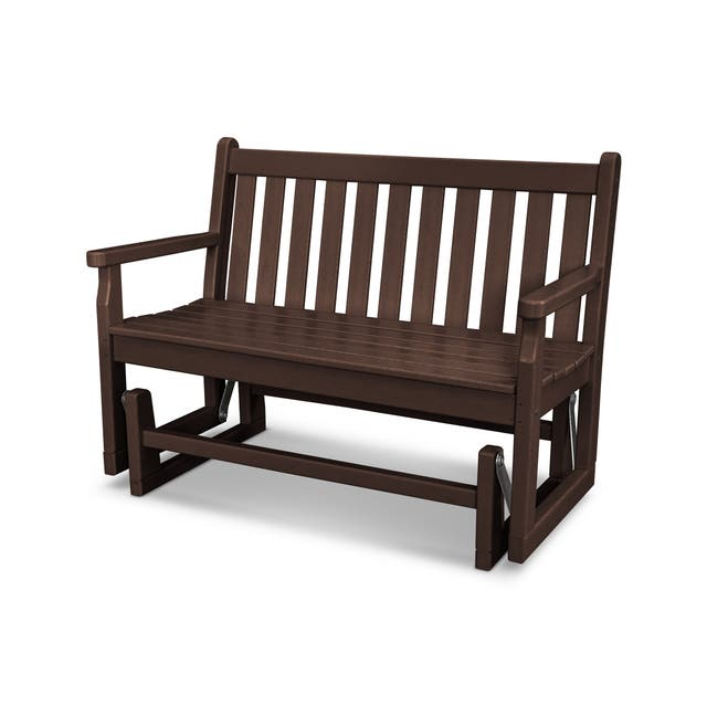 POLYWOOD Traditional 48-inch Outdoor Garden Glider Bench - Mahogany