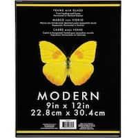"Black - Modern Plastic W/Glass Photo Frame 9""X12"""