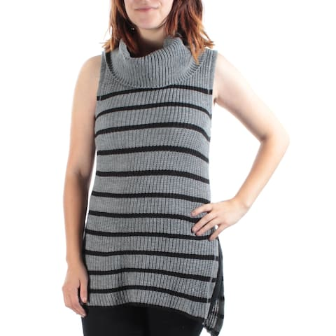 ULTRA FLIRT Womens Gray Slitted Knitted Striped Sleeveless Cowl Neck Top Size: M