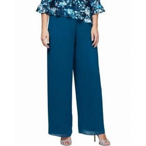 Alex Evenings Peacock Blue Womens Size 3X Plus Stretch Dress Pants