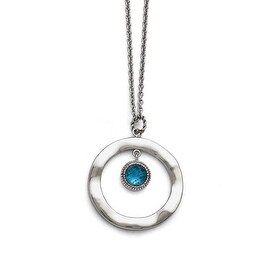 Chisel Stainless Steel Polished Blue Glass Circle with 2in ext. Necklace - 18 in