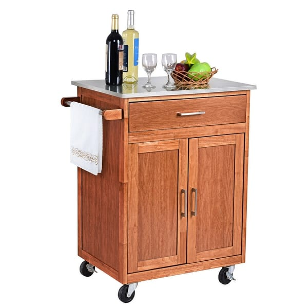 Costway Wood Kitchen Trolley Cart Stainless Steel Top