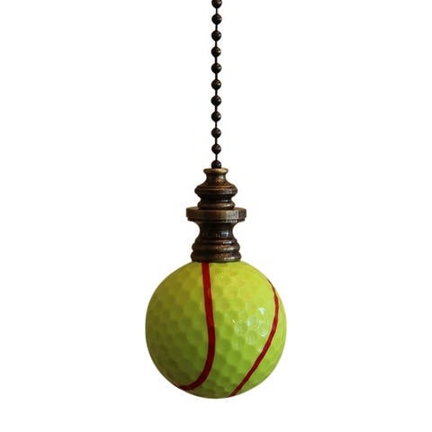 """Tennis Ball with Red Stripe Ceiling Fan Pull, 2.25""""h with 12"""" Antiqued Brass Chain"""