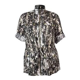 Calvin Klein Women's Snake Print Linen Utility Jacket - 1x