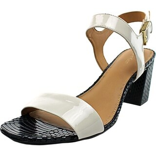 Calvin Klein Cimi Women Open Toe Patent Leather White Sandals
