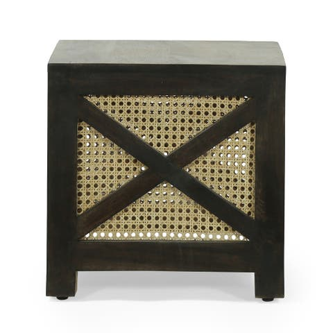 Colstrip Boho Handcrafted Mango Wood Ottoman Stool by Christopher Knight Home