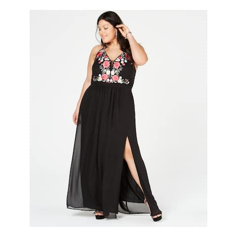 NIGHTWAY Black Spaghetti Strap Maxi Sheath Dress Size 20W