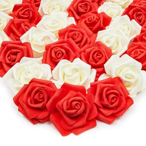 "100 Pack 3"" Red White Artificial Rose Fake Flower Heads for Flower Décor"
