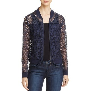 T Tahari Womens Fatima Jacket Floral Applique Lace