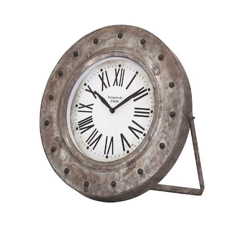 "11.5"" White and Black Distressed Iron Back in Time Galvanized Desk Clock"