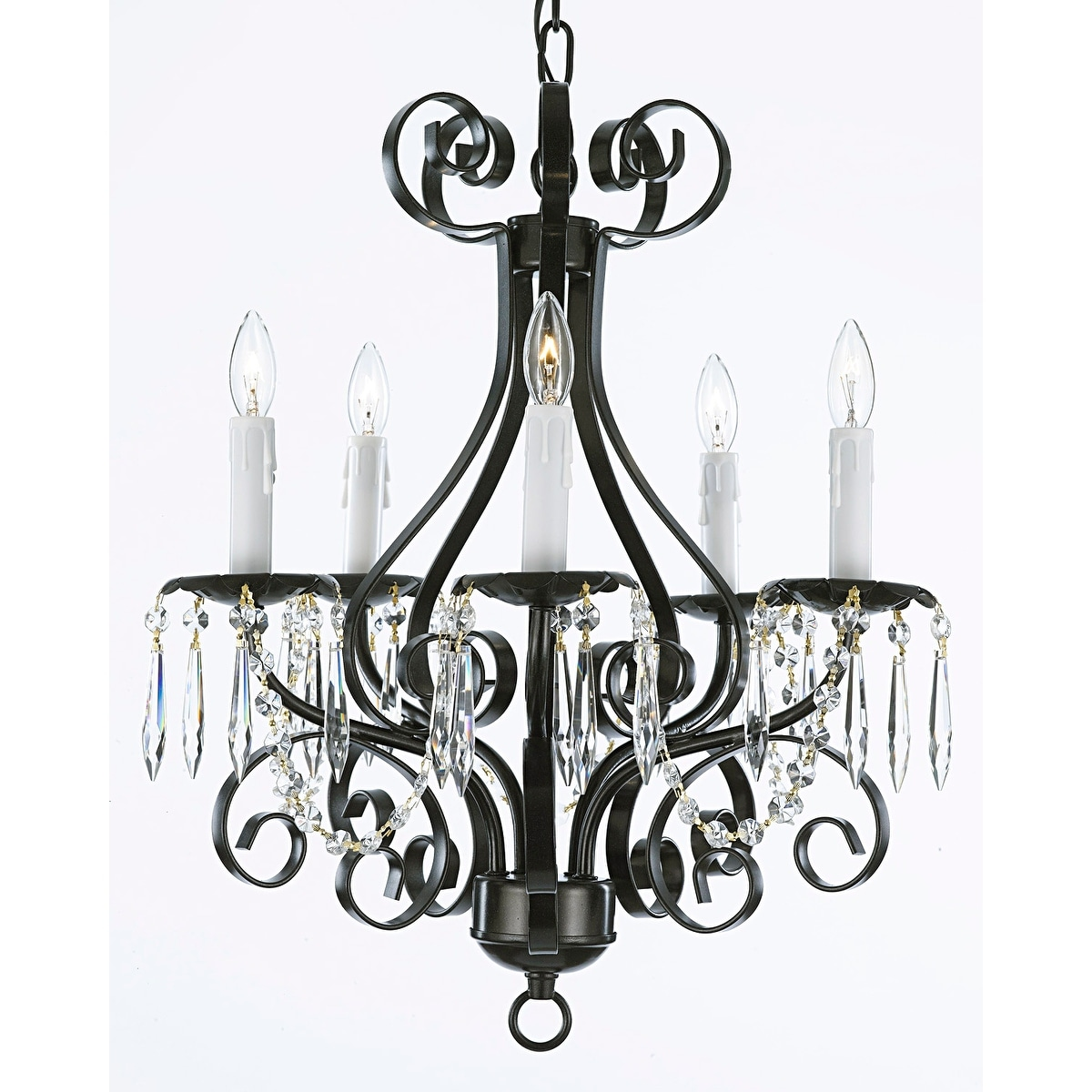 Wrought Iron And Crystal 5 Light Black Chandelier Pendant On Sale Overstock 12058803
