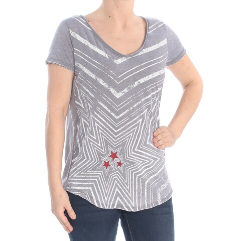 WILLIAM RAST Womens Gray Printed T-Shirt Top Size: S