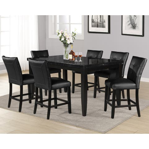 Porch & Den Merkem Rectangular Black Marble Top 7-Piece Counter Height Dining Set