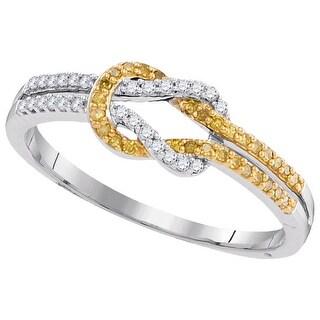 1/5Ctw Yellow Diamond Micro-Pave Ring - White