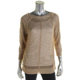 Lauren Ralph Lauren Womens Pullover Sweater Linen Blend Open-Knit