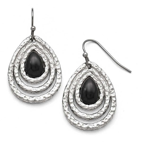 Chisel Stainless Steel Polished Black Onyx Shepherd Hook Earrings