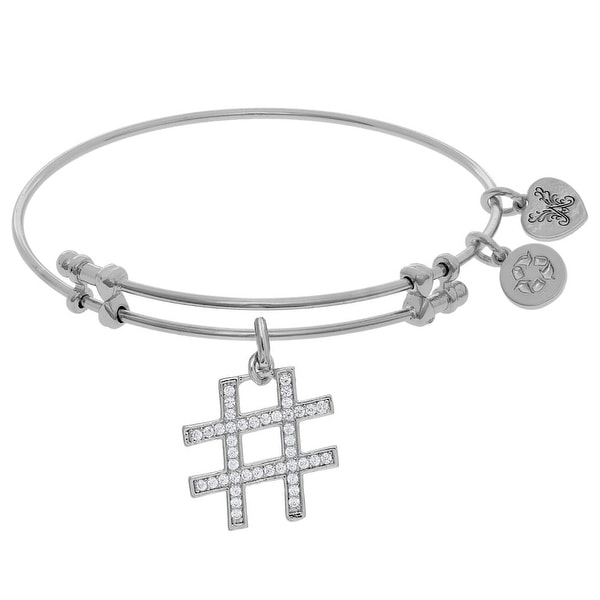 Brass Cubic Zirconia Hash Tag Charm On White Angelica Collection Bangle