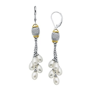 Freshwater Pearl and 1/8 ct Diamond Drop Earrings in Sterling Silver and 14K Gold