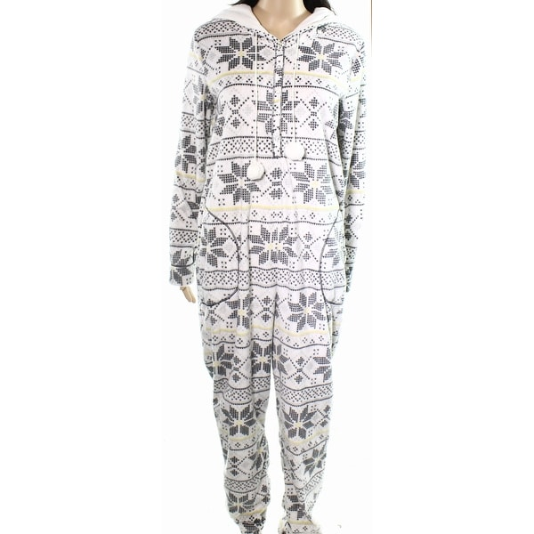 b7529bbf6ad8 Shop Kensie NEW White Women Small S Floral-Print Fleece One Piece Sleepwear  - Free Shipping On Orders Over  45 - Overstock.com - 20590766