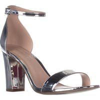 madden girl Beella Ankle Strap Dress Sandals, Silver Metallic