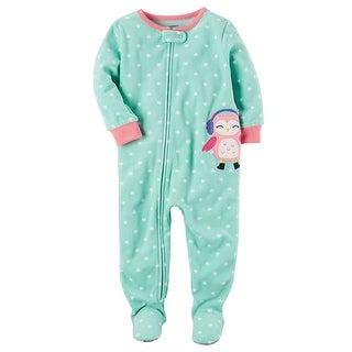 Carter's Little Girls' 1 Piece Owl Fleece Pajamas, 2-Toddler