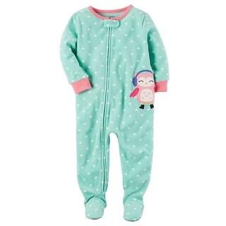 Carter's Little Girls' 1 Piece Owl Fleece Pajamas, 3-Toddler