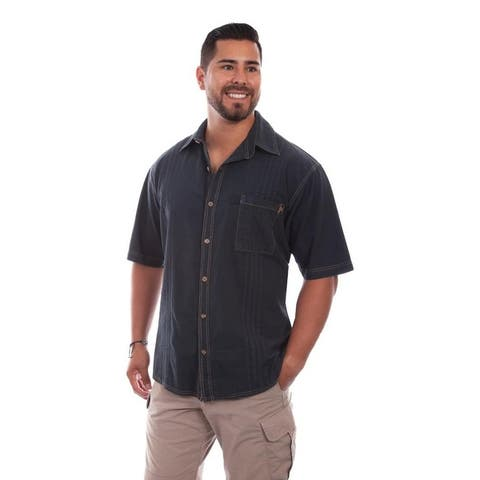 Scully Western Shirt Mens Short Sleeve Button Pleated