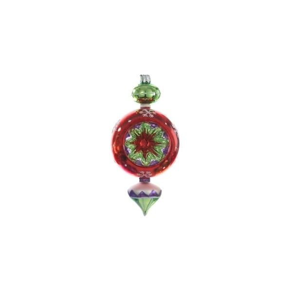 "6.25"" Red Glitter Glass Retro Reflector Finial Christmas Ornament"
