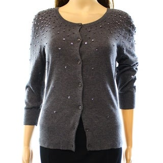 Halogen NEW Gray Women's Small S Embellished Buttoned Cardigan Sweater