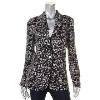 Foxcroft Womens One-Button Blazer Matte Jersey Polka Dot