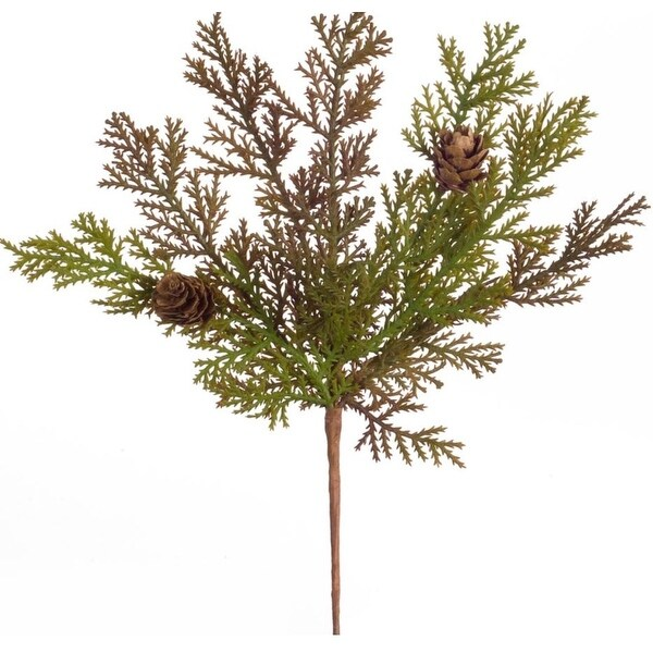 "Club Pack of 24 Holiday Festive Indoor Outdoor Brown Green Cypress Pick 9.5""H"