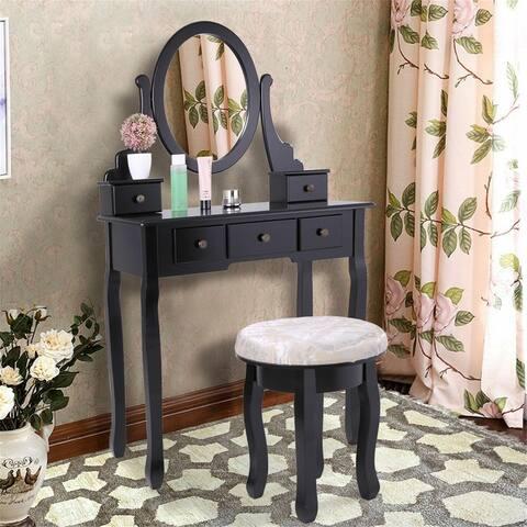 Three mirror round dressing table-black