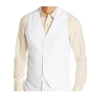 Cubavera NEW Bright White Mens Size Small S Woven Button-Front Vest