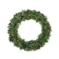 "48"" Pre-Lit Mixed Cashmere Pine Artificial Christmas Wreath - Clear Lights - Green"