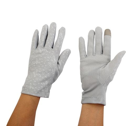 Women Ladies Anti-slip Full Finger Mittens Summer Outdoor Sun Gloves Gray Pair