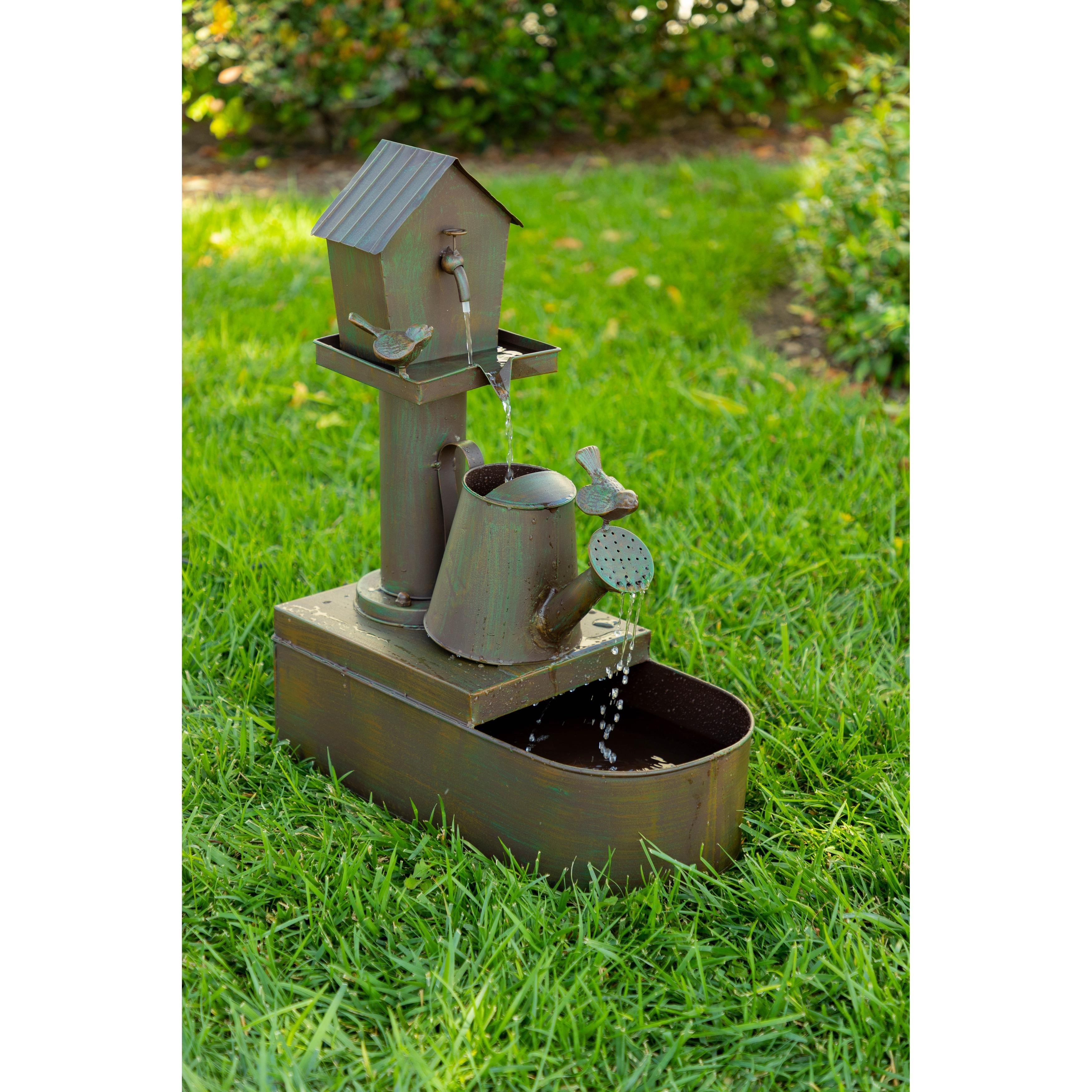 Shop Alpine Corporation 24 Tall Indoor Outdoor Birdhouse And Watering Can Floor Water Fountain On Sale Overstock 10292350
