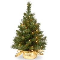 2' Pre-lit Potted Majestic Fir Tree Artificial Christmas Tree in Gold Cloth Bag – Clear Lights - 2 Foot
