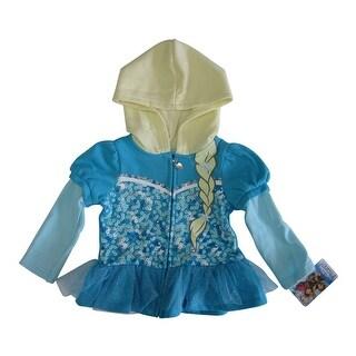Disney Little Girls Sky Blue Yellow Elsa Glitter Sequin Hooded Shirt