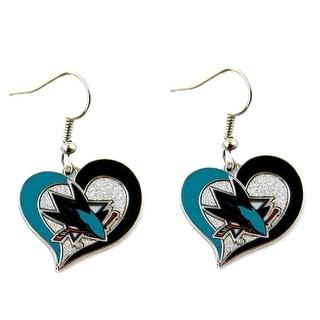 San Jose Sharks Swirl Heart Earring Nhl Dangle Logo Charm Gift