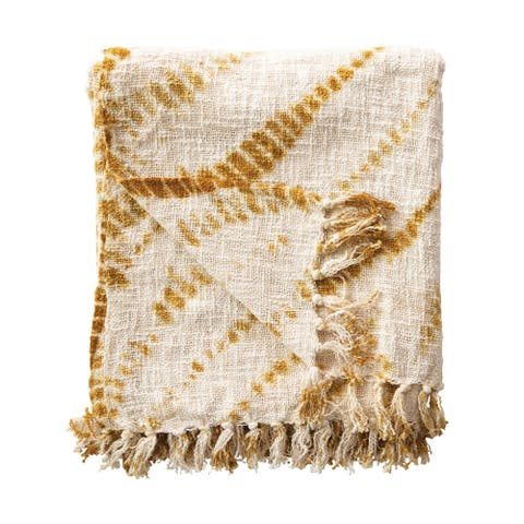 Tie-Dyed Mustard with Fringe Cotton Throw