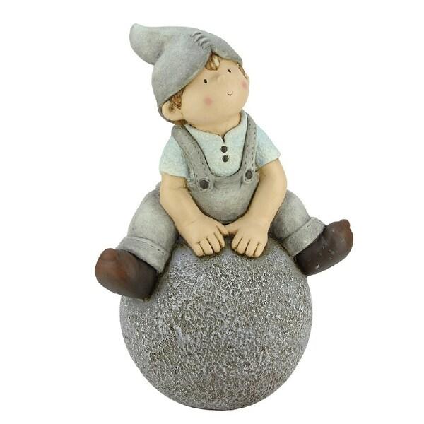 "16"" Young Boy Gnome Sitting on Ball Spring Outdoor Garden Patio Figure"