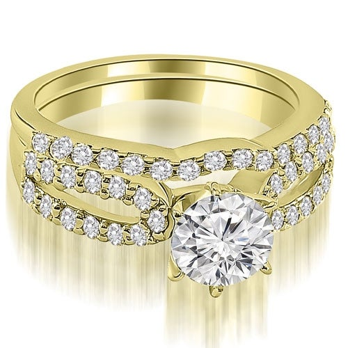 1.39 cttw. 14K Yellow Gold Exquisite Split Shank Round Diamond Bridal Set