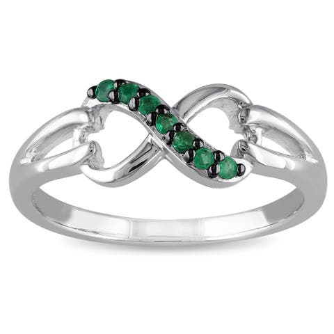 Miadora Sterling Silver Emerald Infinity Promise Ring