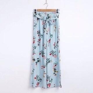 Floral Stripe Casual Split Pants for Women
