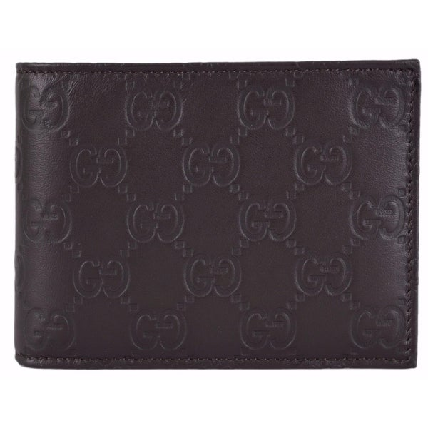 f8041e9016b75a Shop Gucci Men's 150403 Brown Leather GG Guccissima Bifold Wallet W/Coin  Pocket - Free Shipping Today - Overstock - 12003483