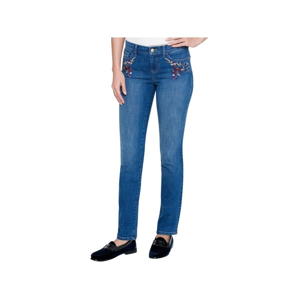 d244c3348 Shop Tommy Hilfiger Womens Straight Leg Jeans Embroidered Mid-Rise - Free  Shipping On Orders Over $45 - Overstock - 22885194